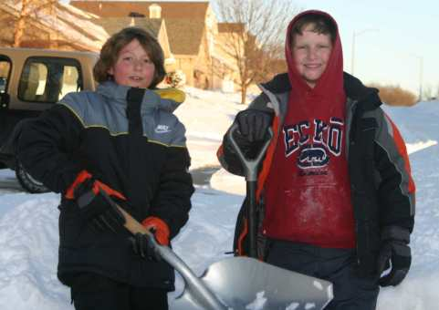 ECC Kids Shoveling Snow!
