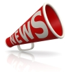 Red news megaphone image with hi-res rendered artwork that could be used for any graphic design.