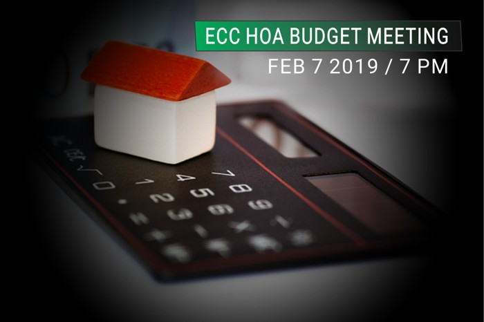 NEW! ECC HOA Public Meeting Thursday to Finalize 2019 Budget